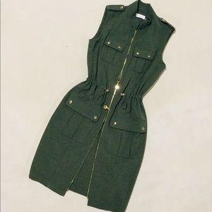 {Calvin Klein}  Military Zip Sleeveless Dress